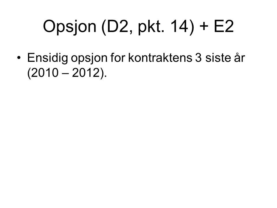 Opsjon (D2, pkt. 14) + E2 Ensidig opsjon for kontraktens 3 siste år (2010 – 2012).