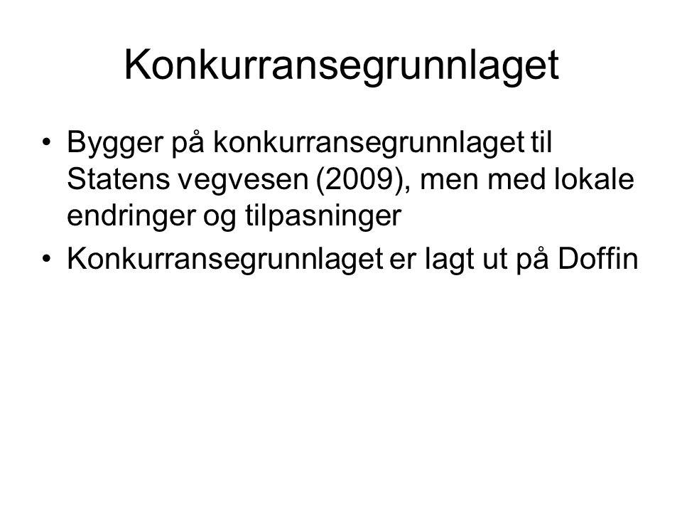 Konkurransegrunnlaget Bygger på konkurransegrunnlaget til Statens vegvesen (2009), men med lokale endringer og tilpasninger Konkurransegrunnlaget er lagt ut på Doffin