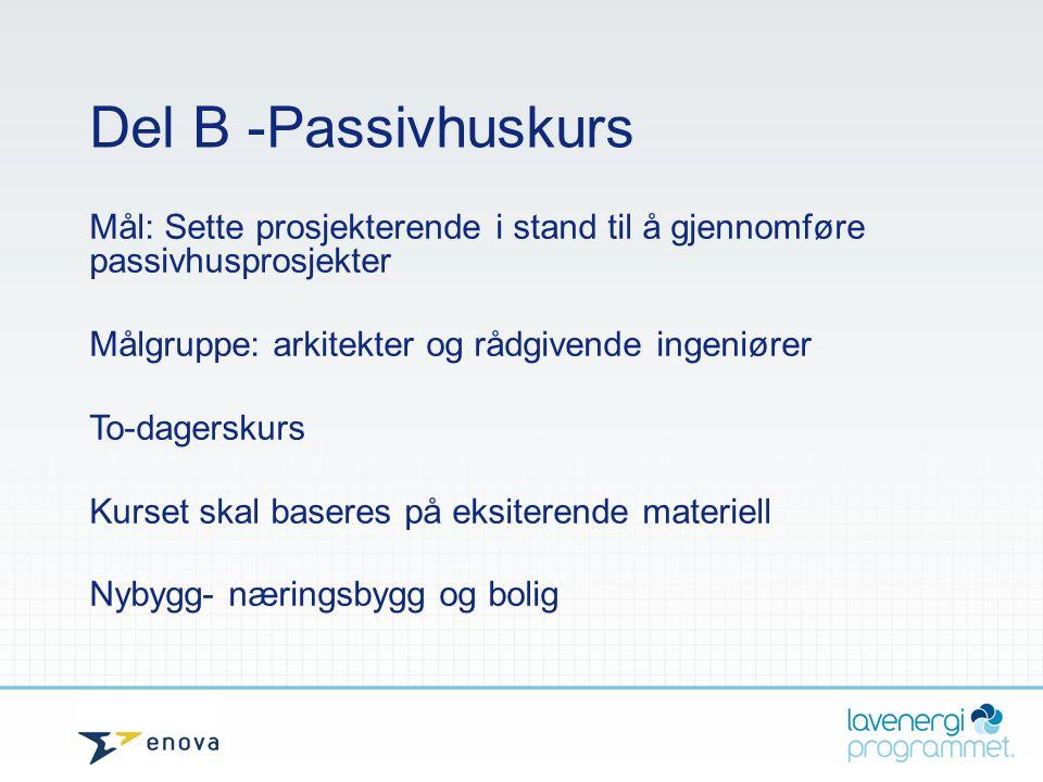 Del B -Passivhuskurs Mål: Sette prosjekterende i stand til å gjennomføre passivhusprosjekter Målgruppe: arkitekter og rådgivende ingeniører To-dagersk