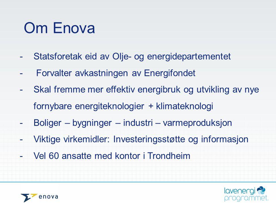 Om Enova -Statsforetak eid av Olje- og energidepartementet - Forvalter avkastningen av Energifondet - Skal fremme mer effektiv energibruk og utvikling