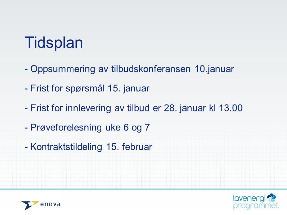 Tidsplan - Oppsummering av tilbudskonferansen 10.januar - Frist for spørsmål 15. januar - Frist for innlevering av tilbud er 28. januar kl 13.00 - Prø