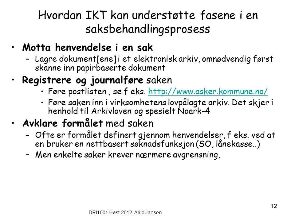 DRI1001 Høst 2012 Arild Jansen 12 Hvordan IKT kan understøtte fasene i en saksbehandlingsprosess Motta henvendelse i en sak –Lagre dokument[ene] i et elektronisk arkiv, omnødvendig først skanne inn papirbaserte dokument Registrere og journalføre saken Føre postlisten, se f eks.