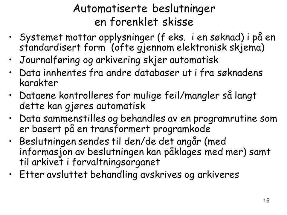 16 Automatiserte beslutninger en forenklet skisse Systemet mottar opplysninger (f eks.