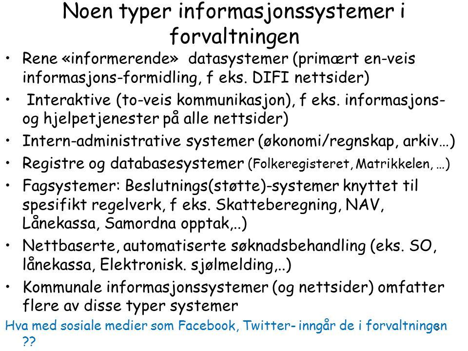 3 Noen typer informasjonssystemer i forvaltningen Rene «informerende» datasystemer (primært en-veis informasjons-formidling, f eks.