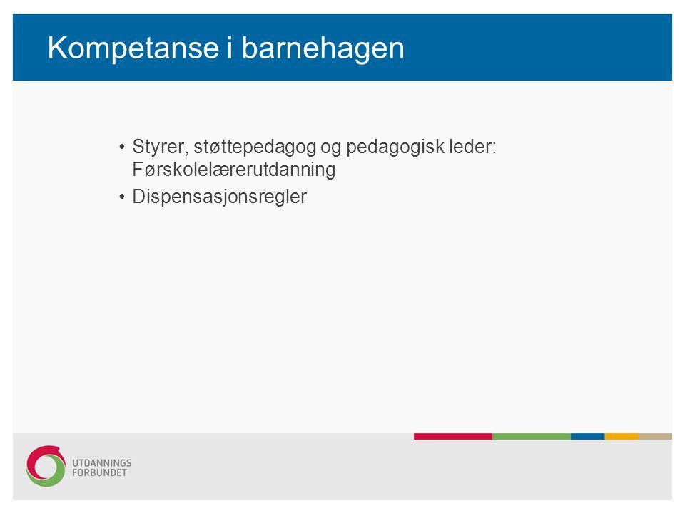 Kompetanse i barnehagen Styrer, støttepedagog og pedagogisk leder: Førskolelærerutdanning Dispensasjonsregler