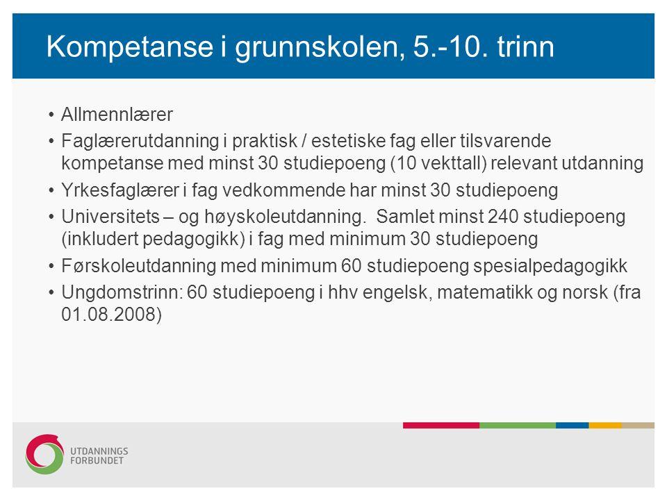 Kompetanse i grunnskolen, 5.-10.