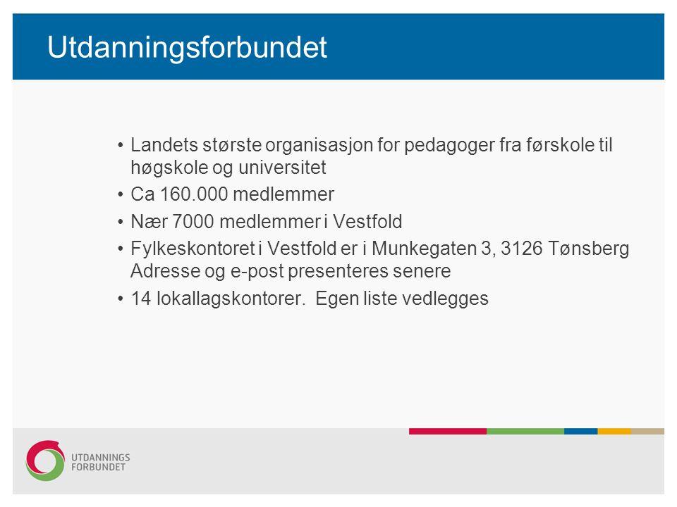 Utdanningsforbundet Landets største organisasjon for pedagoger fra førskole til høgskole og universitet Ca 160.000 medlemmer Nær 7000 medlemmer i Vestfold Fylkeskontoret i Vestfold er i Munkegaten 3, 3126 Tønsberg Adresse og e-post presenteres senere 14 lokallagskontorer.