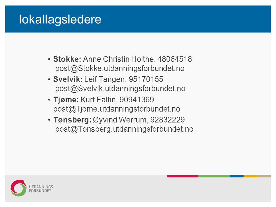 lokallagsledere Stokke: Anne Christin Holthe, 48064518 post@Stokke.utdanningsforbundet.no Svelvik: Leif Tangen, 95170155 post@Svelvik.utdanningsforbundet.no Tjøme: Kurt Faltin, 90941369 post@Tjome.utdanningsforbundet.no Tønsberg: Øyvind Werrum, 92832229 post@Tonsberg.utdanningsforbundet.no