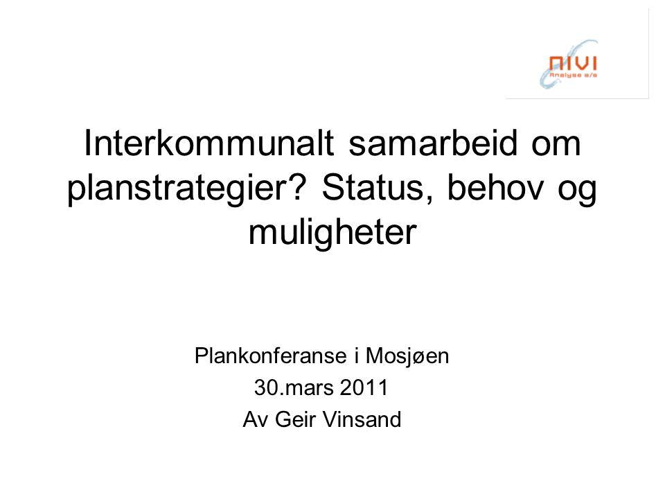 Interkommunalt samarbeid om planstrategier.