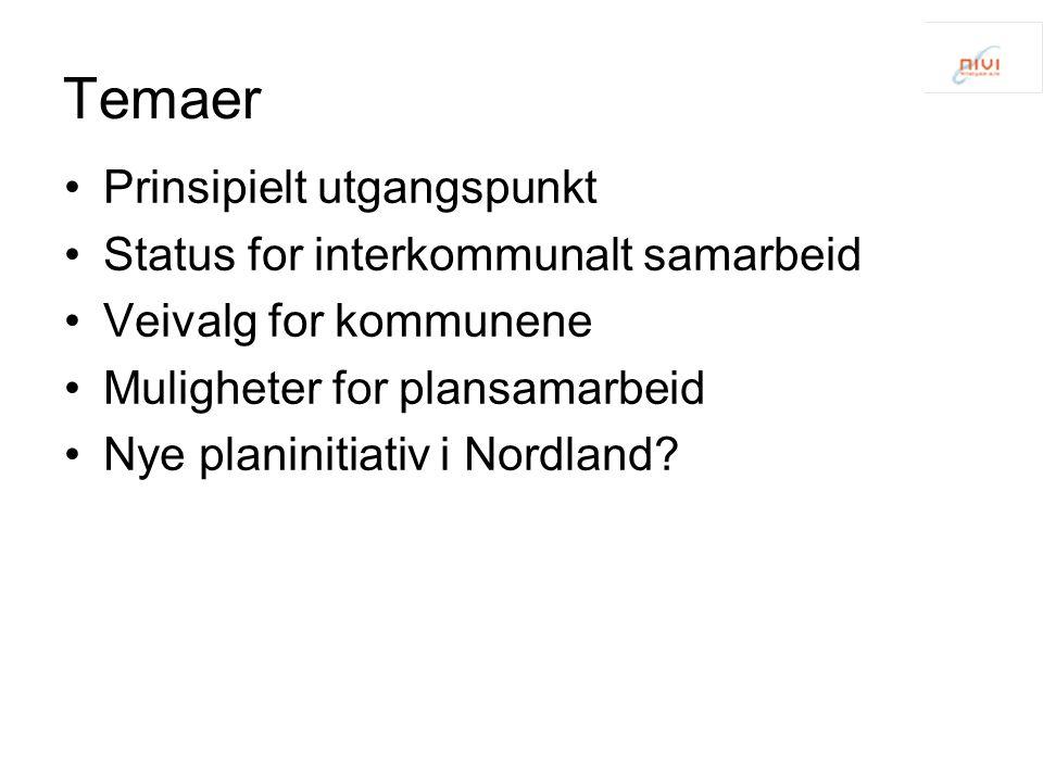 Temaer Prinsipielt utgangspunkt Status for interkommunalt samarbeid Veivalg for kommunene Muligheter for plansamarbeid Nye planinitiativ i Nordland