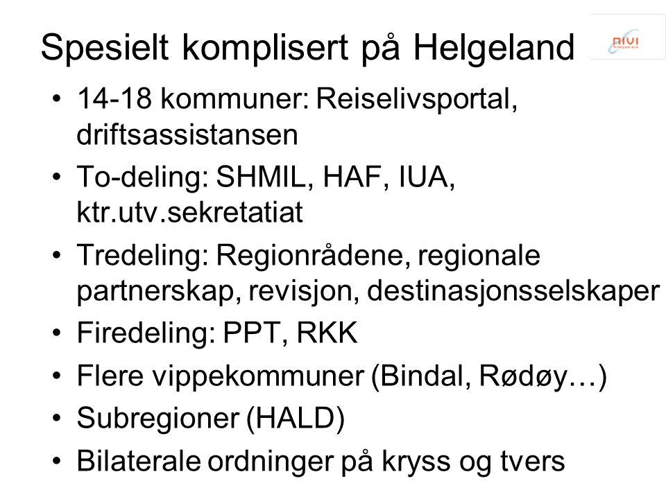 Spesielt komplisert på Helgeland 14-18 kommuner: Reiselivsportal, driftsassistansen To-deling: SHMIL, HAF, IUA, ktr.utv.sekretatiat Tredeling: Regionrådene, regionale partnerskap, revisjon, destinasjonsselskaper Firedeling: PPT, RKK Flere vippekommuner (Bindal, Rødøy…) Subregioner (HALD) Bilaterale ordninger på kryss og tvers