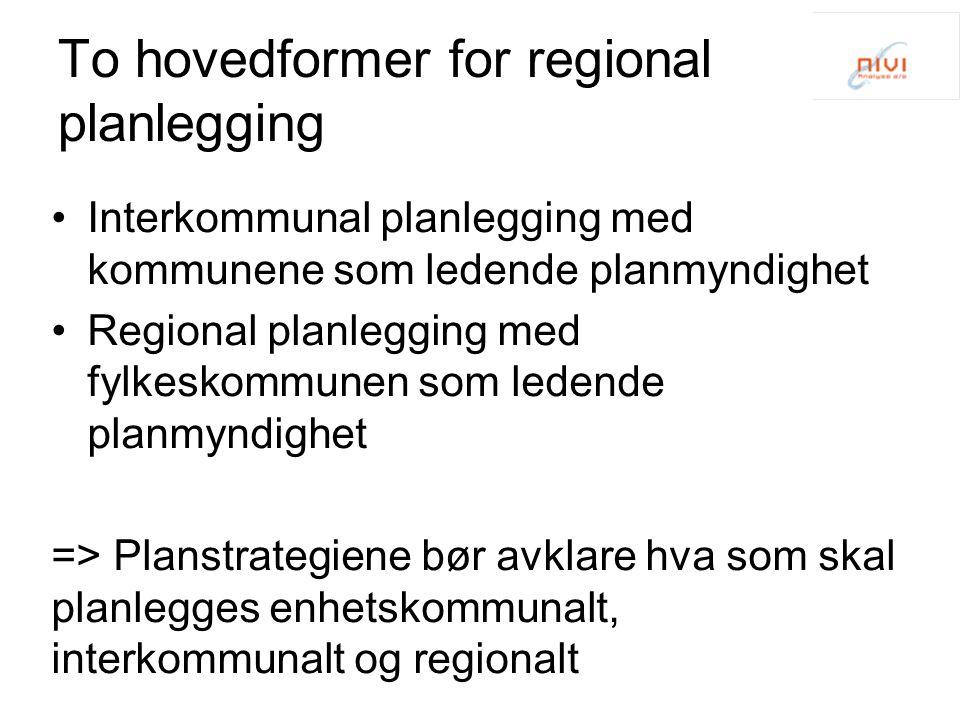 To hovedformer for regional planlegging Interkommunal planlegging med kommunene som ledende planmyndighet Regional planlegging med fylkeskommunen som ledende planmyndighet => Planstrategiene bør avklare hva som skal planlegges enhetskommunalt, interkommunalt og regionalt