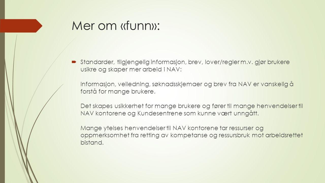 Mer om «funn»:  Standarder, tilgjengelig informasjon, brev, lover/regler m.v. gjør brukere usikre og skaper mer arbeid i NAV: Informasjon, veiledning