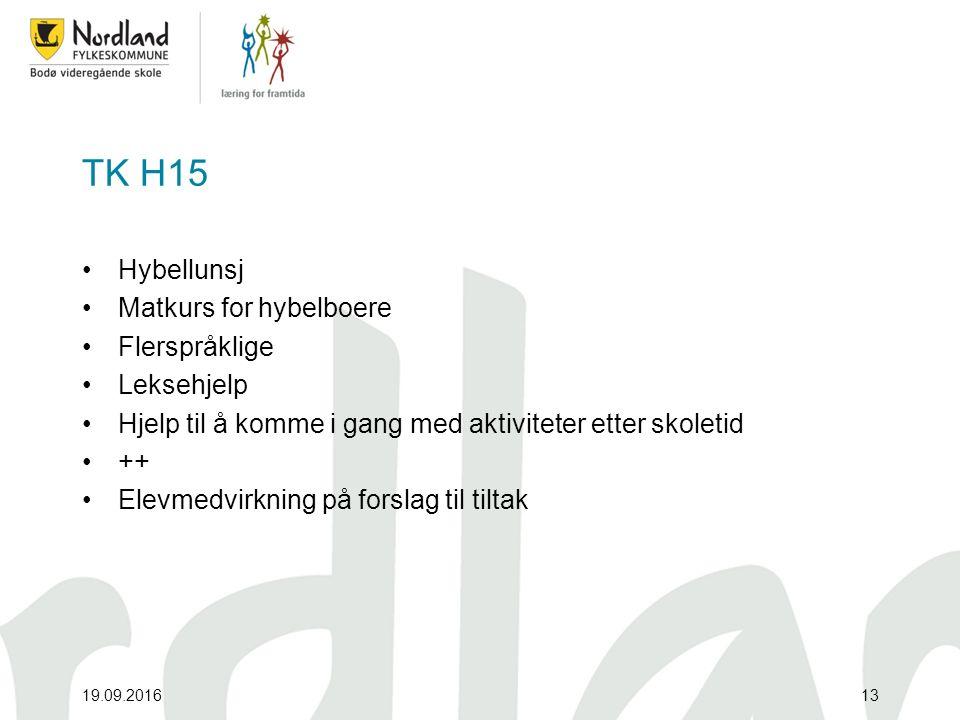 TK H15 Hybellunsj Matkurs for hybelboere Flerspråklige Leksehjelp Hjelp til å komme i gang med aktiviteter etter skoletid ++ Elevmedvirkning på forslag til tiltak 19.09.201613