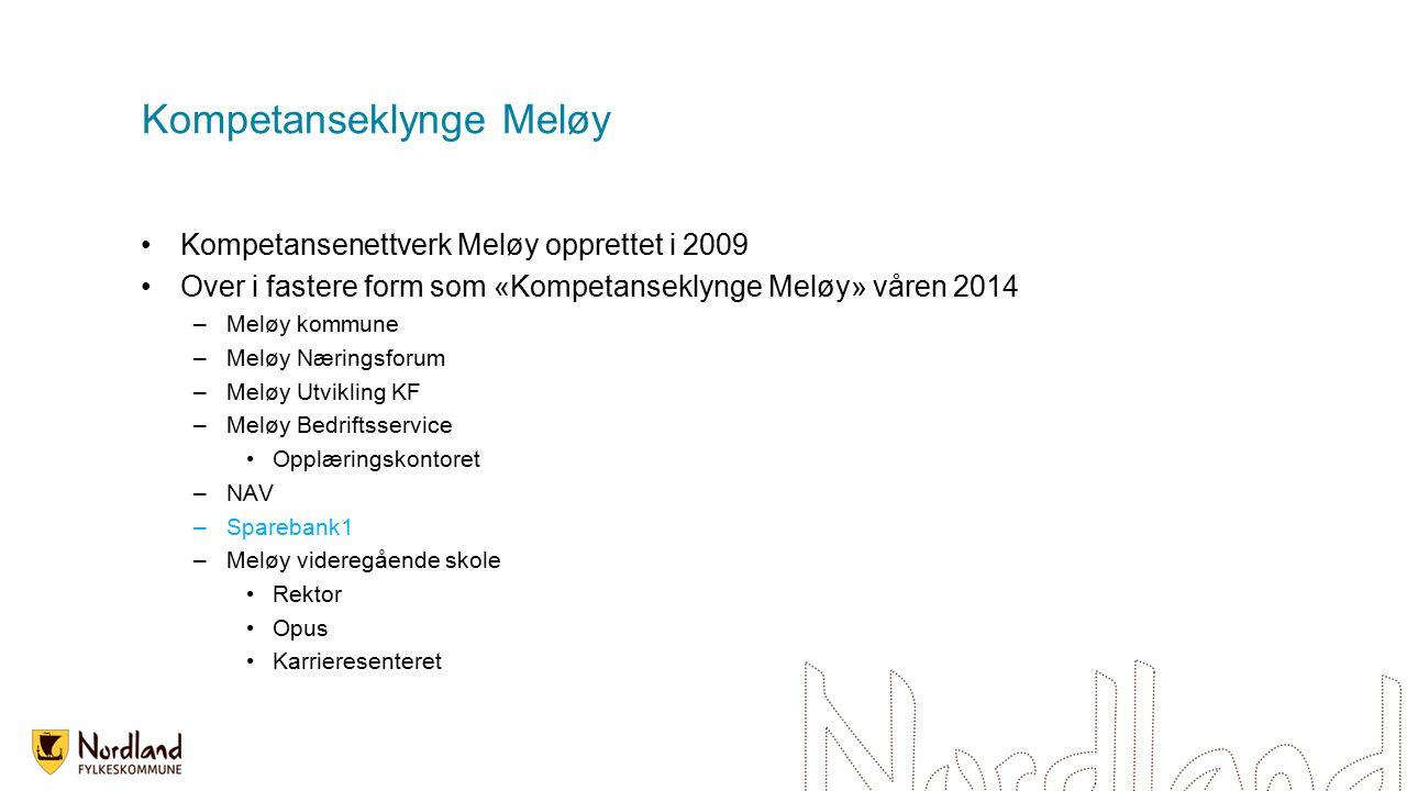 Kompetanseklynge Meløy Kompetansenettverk Meløy opprettet i 2009 Over i fastere form som «Kompetanseklynge Meløy» våren 2014 –Meløy kommune –Meløy Næringsforum –Meløy Utvikling KF –Meløy Bedriftsservice Opplæringskontoret –NAV –Sparebank1 –Meløy videregående skole Rektor Opus Karrieresenteret