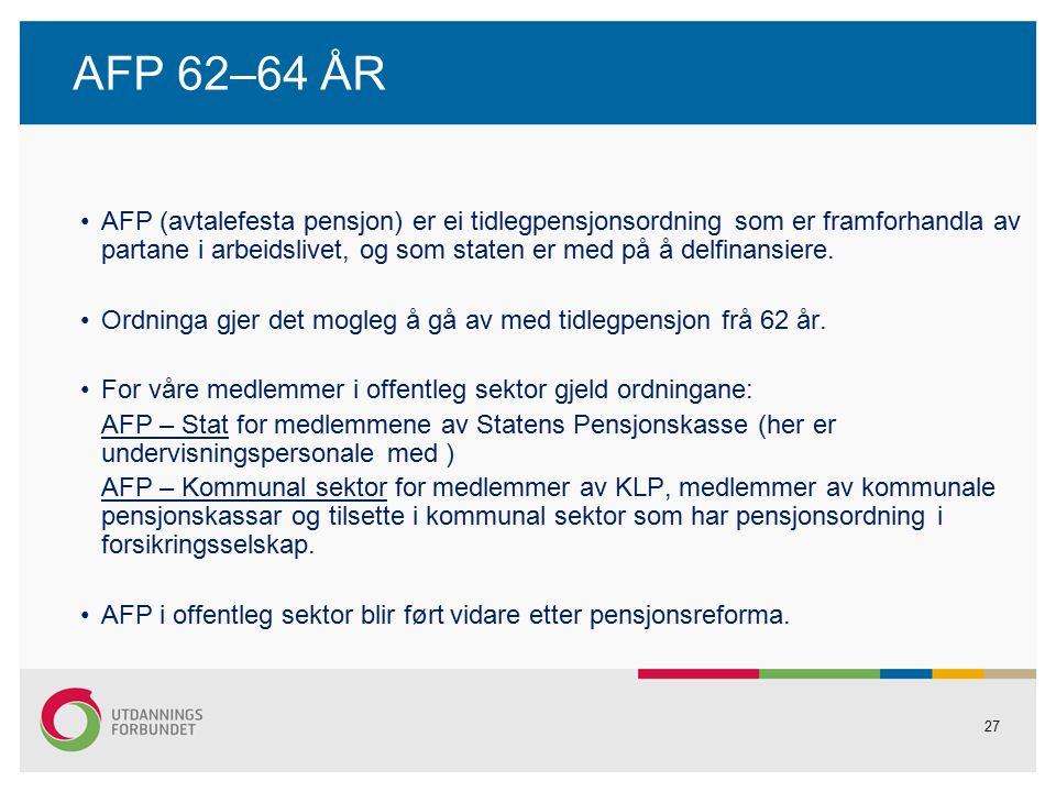 27 AFP 62–64 ÅR AFP (avtalefesta pensjon) er ei tidlegpensjonsordning som er framforhandla av partane i arbeidslivet, og som staten er med på å delfinansiere.