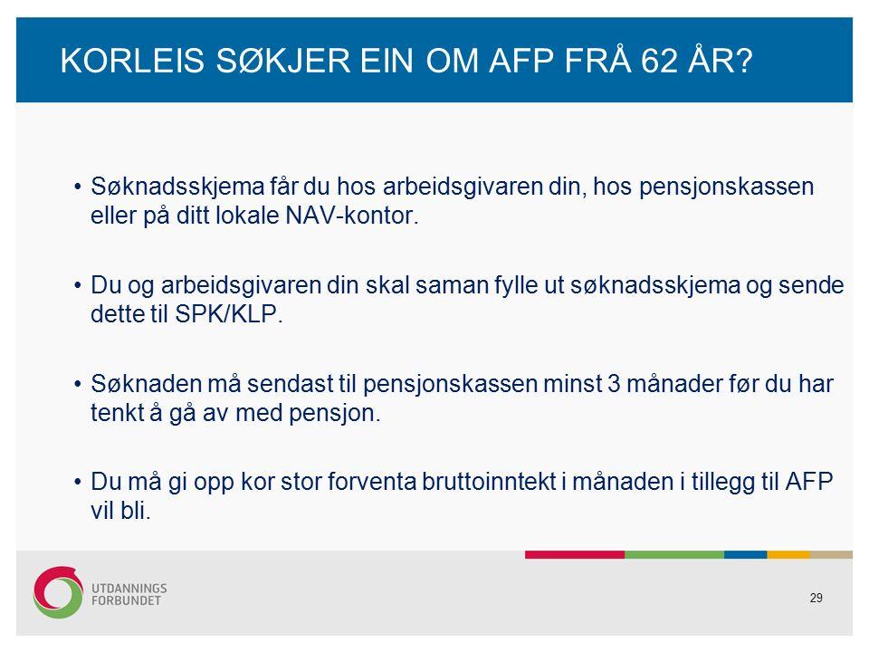 29 KORLEIS SØKJER EIN OM AFP FRÅ 62 ÅR.