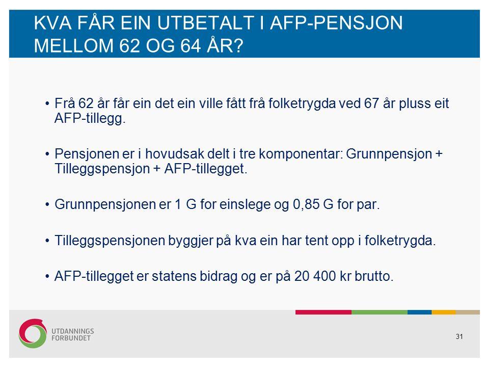 31 KVA FÅR EIN UTBETALT I AFP-PENSJON MELLOM 62 OG 64 ÅR.