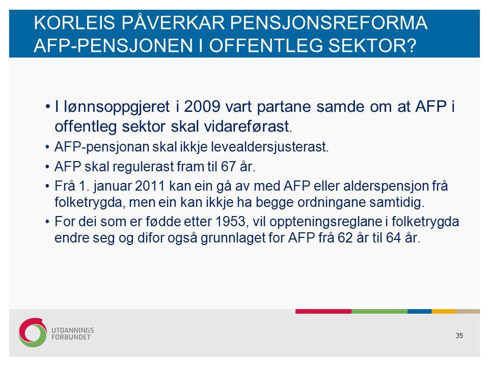 35 KORLEIS PÅVERKAR PENSJONSREFORMA AFP-PENSJONEN I OFFENTLEG SEKTOR.