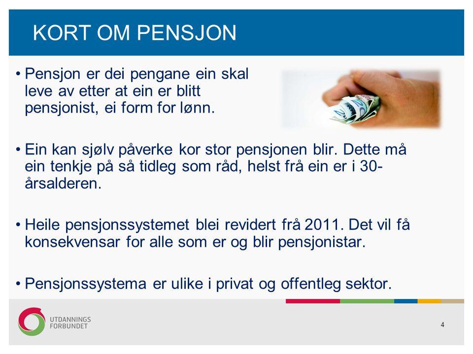 4 KORT OM PENSJON Pensjon er dei pengane ein skal leve av etter at ein er blitt pensjonist, ei form for lønn.