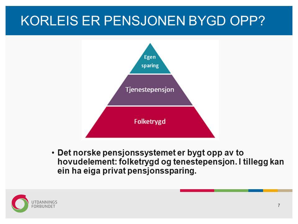LEVEALDERSJUSTERING OG FORHOLDSTAL FORHOLDSTAL Gammal opptening, levealdersjustert årleg yting Eksempel: Anne ved 67 år: 300 000 kr: 1,025 = 292 700 kr ---- ----- 62 år: 300 000 kr : 1,316 = 228 000 kr DELINGSTAL Ny oppteningsmodell Pensjonsbehaldning: delingstal = årleg yting Eksempel: 4 000 000 kr: 20 = 200 000 kr 4 000 000 kr: 22 = 182 000 kr 18