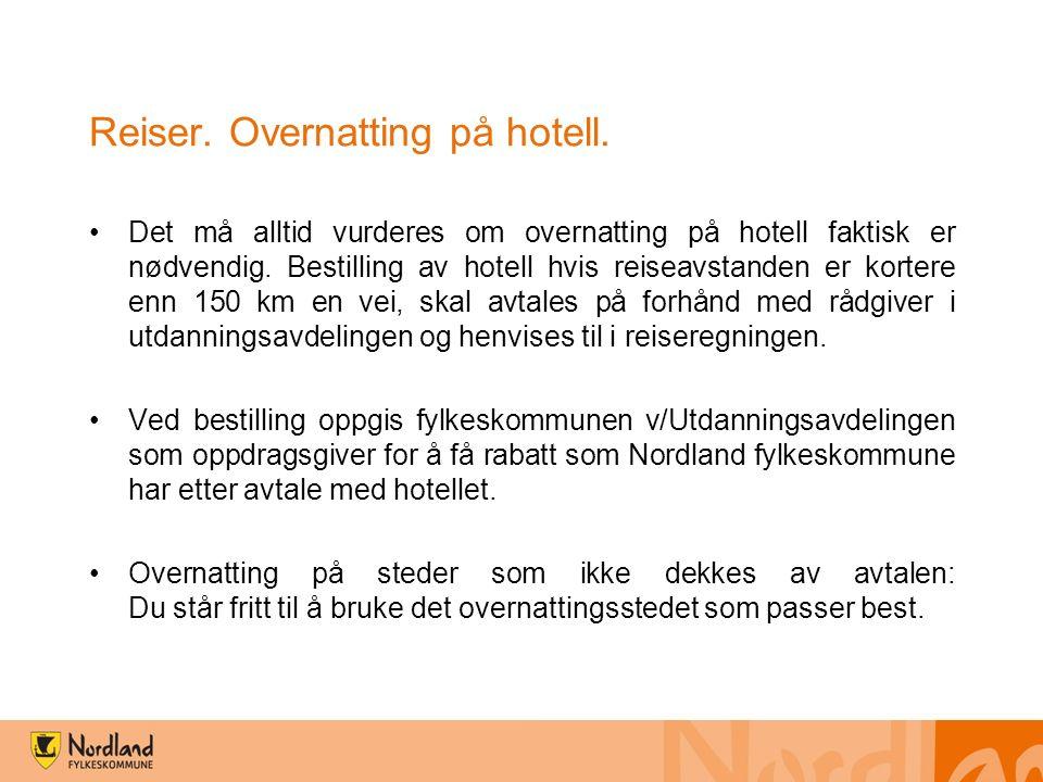 Reiser. Overnatting på hotell.