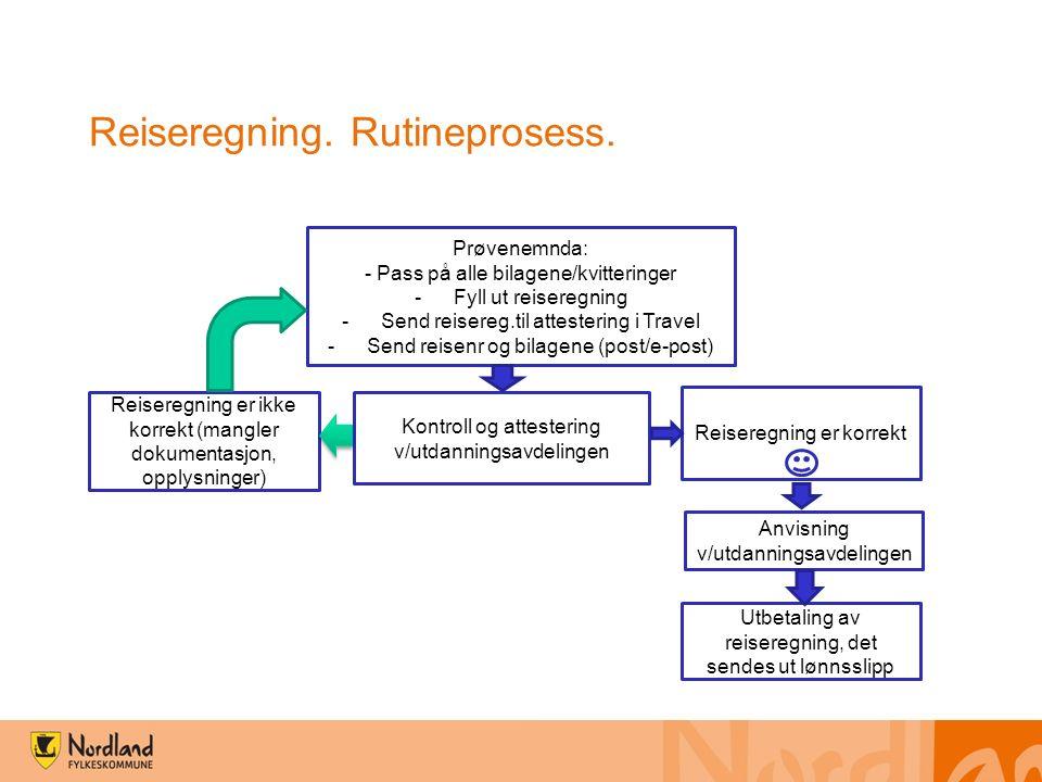 Reiseregning. Rutineprosess.