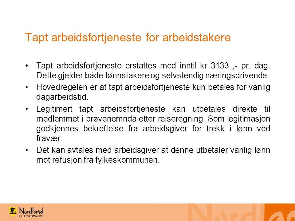 Til arbeidsgiveren refunderer Nordland fylkeskommune faktiske lønns- (inntil kr 3133,-) og sosiale kostnader.