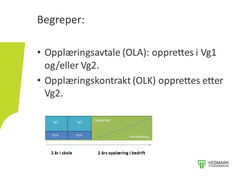 Begreper: Opplæringsavtale (OLA): opprettes i Vg1 og/eller Vg2. Opplæringskontrakt (OLK) opprettes etter Vg2.