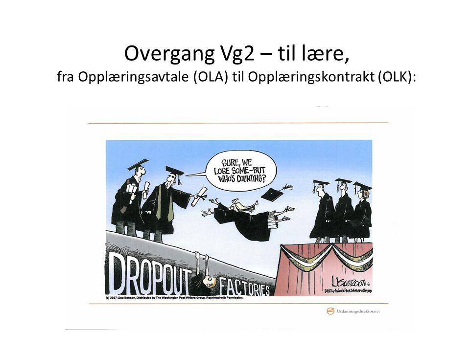 Overgang Vg2 – til lære, fra Opplæringsavtale (OLA) til Opplæringskontrakt (OLK):