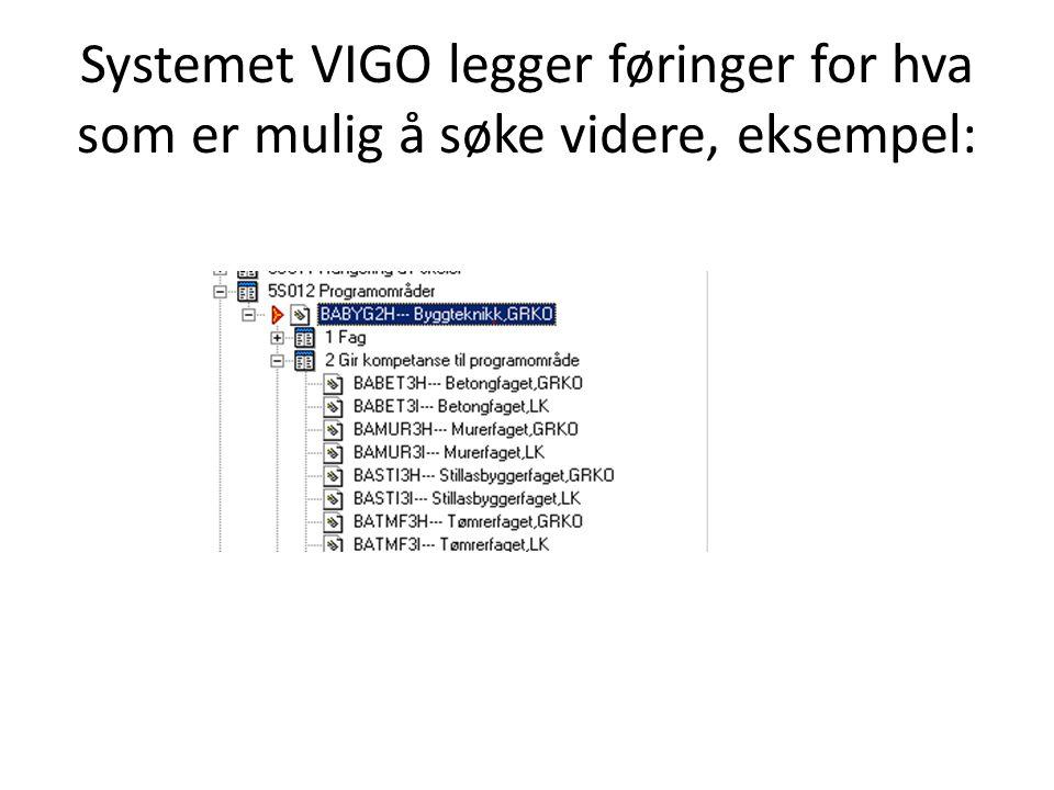 Systemet VIGO legger føringer for hva som er mulig å søke videre, eksempel:
