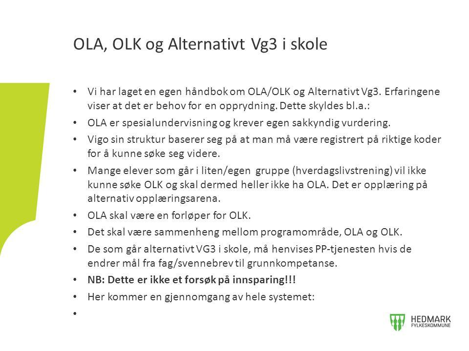 Vi har laget en egen håndbok om OLA/OLK og Alternativt Vg3. Erfaringene viser at det er behov for en opprydning. Dette skyldes bl.a.: OLA er spesialun