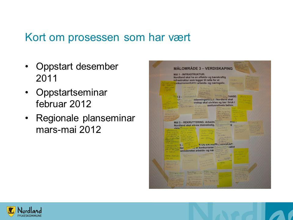 Kort om prosessen som har vært Oppstart desember 2011 Oppstartseminar februar 2012 Regionale planseminar mars-mai 2012