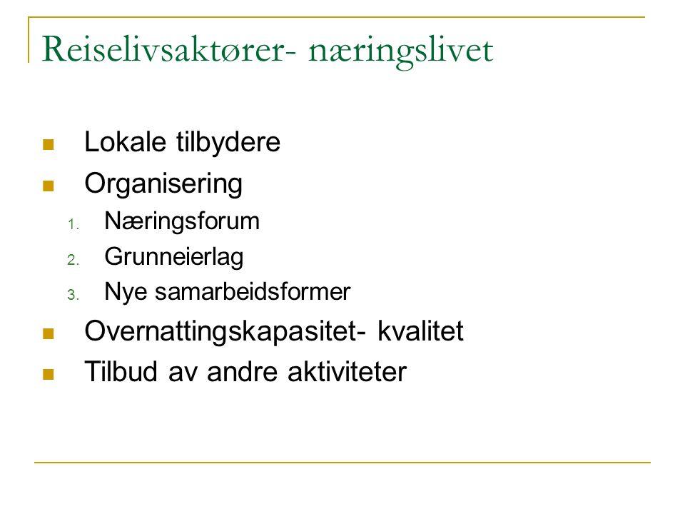 Reiselivsaktører- næringslivet Lokale tilbydere Organisering 1. Næringsforum 2. Grunneierlag 3. Nye samarbeidsformer Overnattingskapasitet- kvalitet T