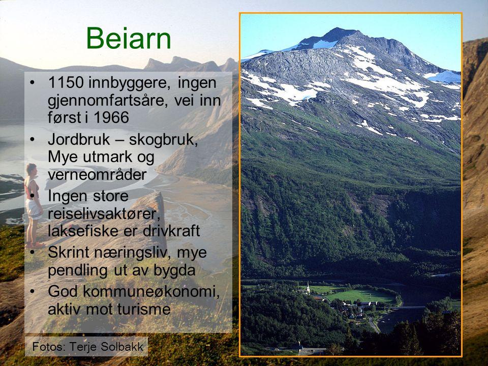 Beiarn 1150 innbyggere, ingen gjennomfartsåre, vei inn først i 1966 Jordbruk – skogbruk, Mye utmark og verneområder Ingen store reiselivsaktører, laks