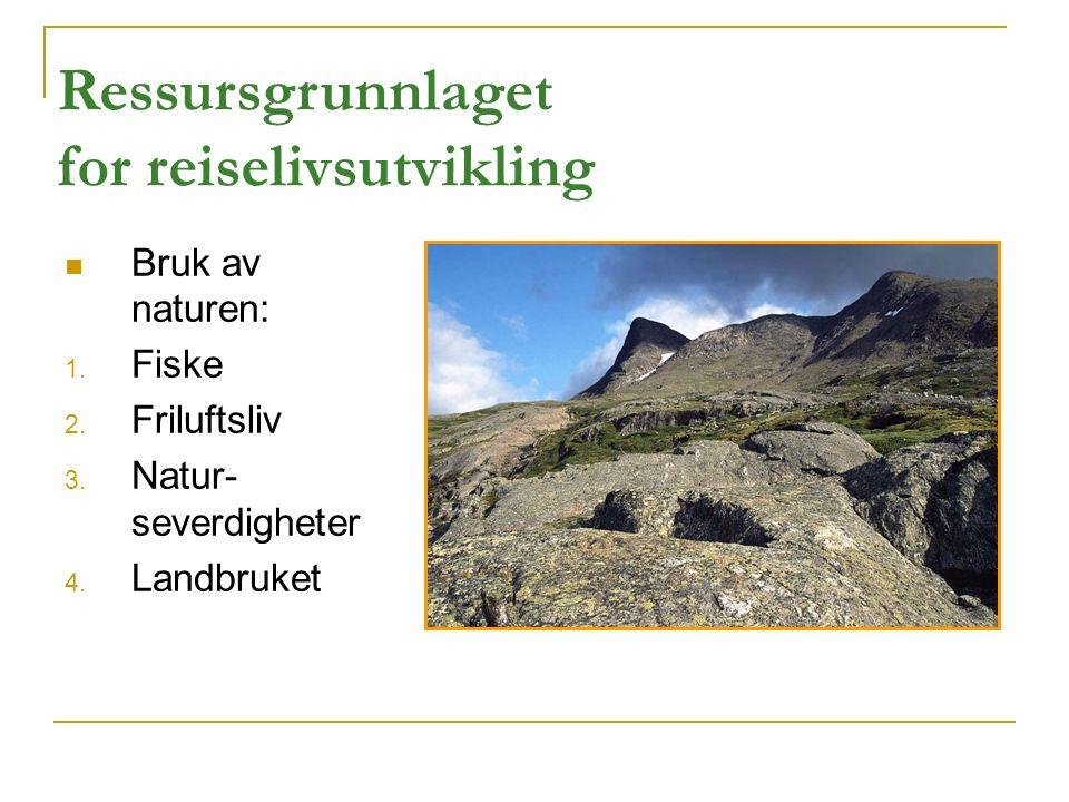 Bruk av naturen: 1. Fiske 2. Friluftsliv 3. Natur- severdigheter 4. Landbruket Ressursgrunnlaget for reiselivsutvikling