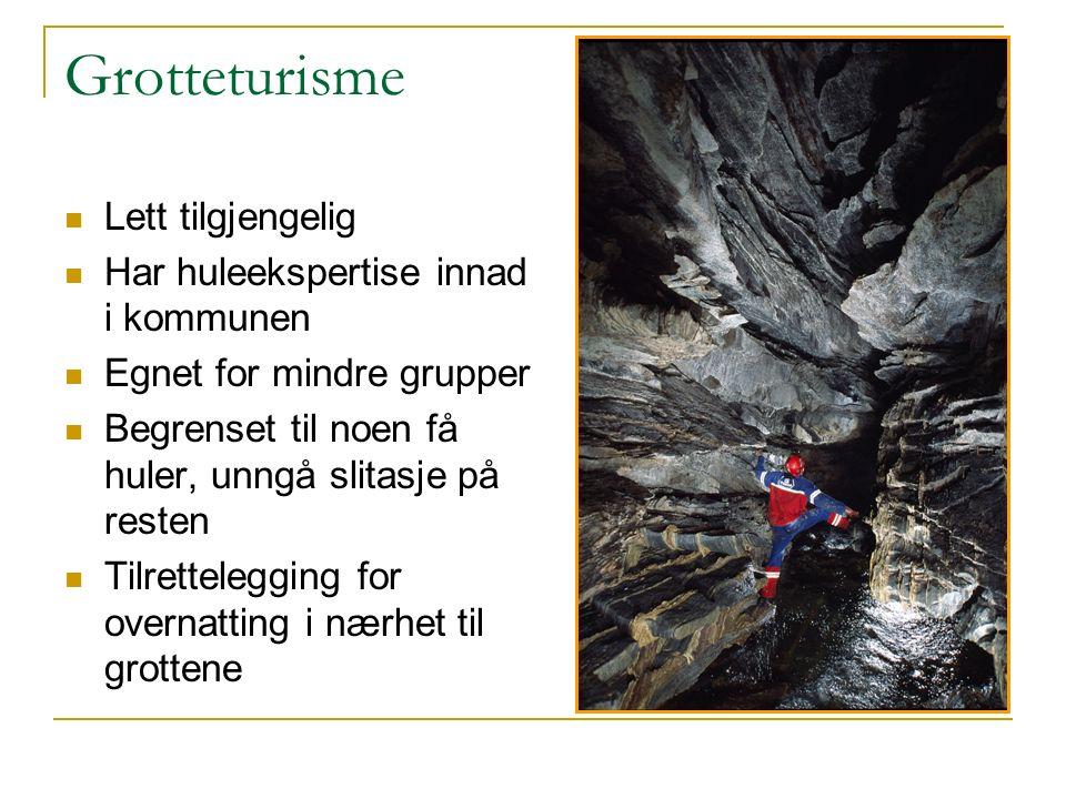 Grotteturisme Lett tilgjengelig Har huleekspertise innad i kommunen Egnet for mindre grupper Begrenset til noen få huler, unngå slitasje på resten Tilrettelegging for overnatting i nærhet til grottene
