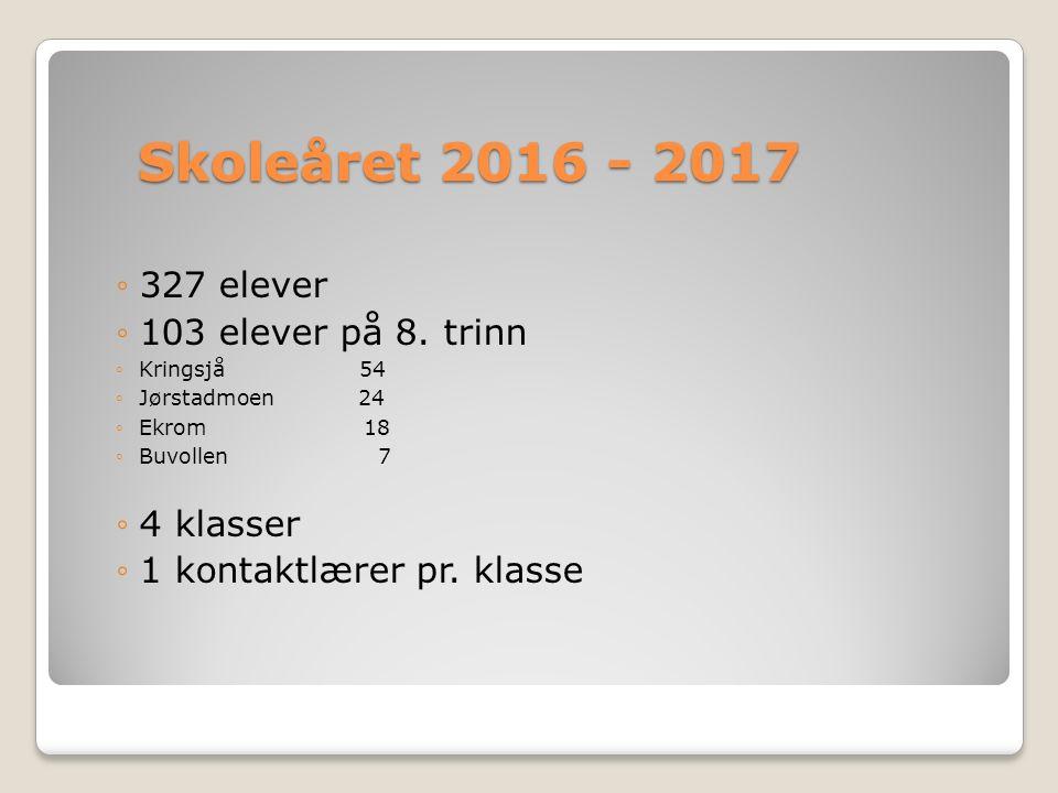 Skoleåret 2016 - 2017 ◦327 elever ◦103 elever på 8.