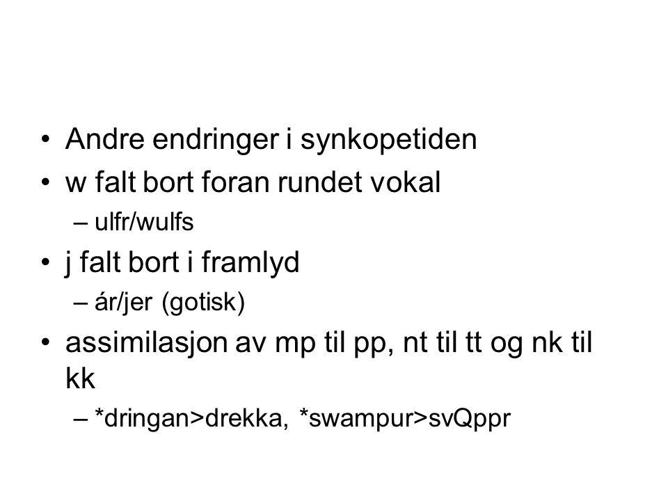 Andre endringer i synkopetiden w falt bort foran rundet vokal –ulfr/wulfs j falt bort i framlyd –ár/jer (gotisk) assimilasjon av mp til pp, nt til tt og nk til kk –*dringan>drekka, *swampur>svQppr