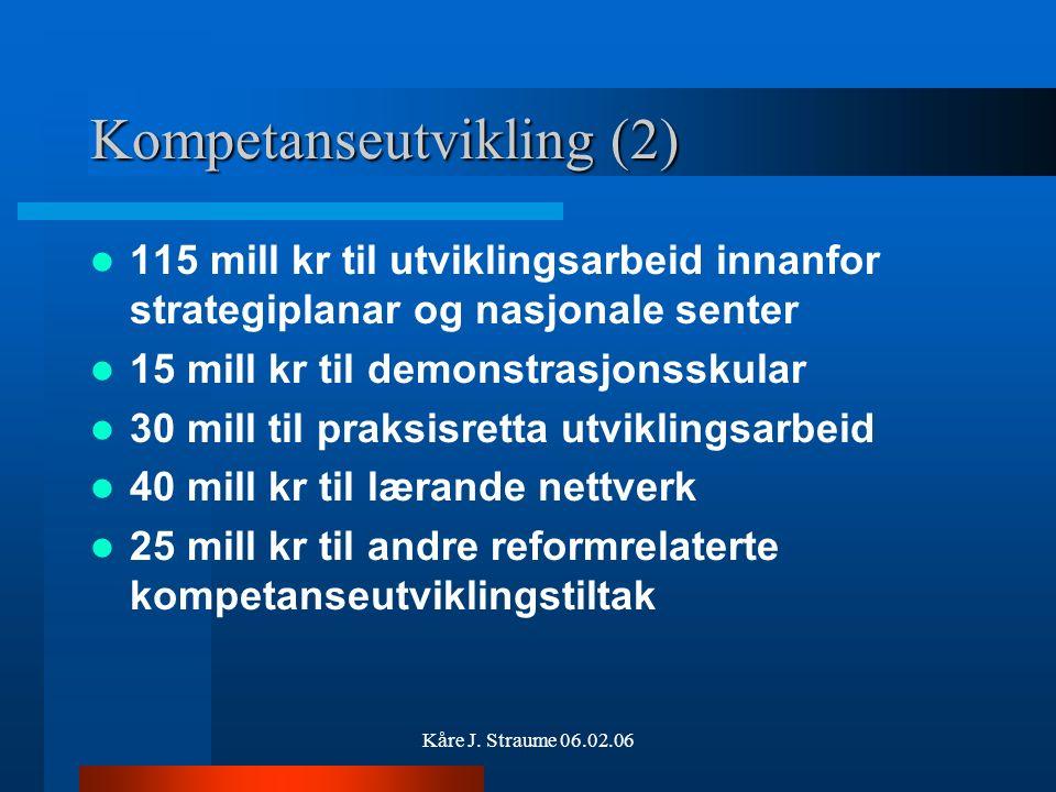 Kåre J. Straume 06.02.06 Kompetanseutvikling (1) 600 mill kr til kompetanseutvikling –375 mill til skuleeigar (ca. 419000 til Rauma) –19 mill kr til M