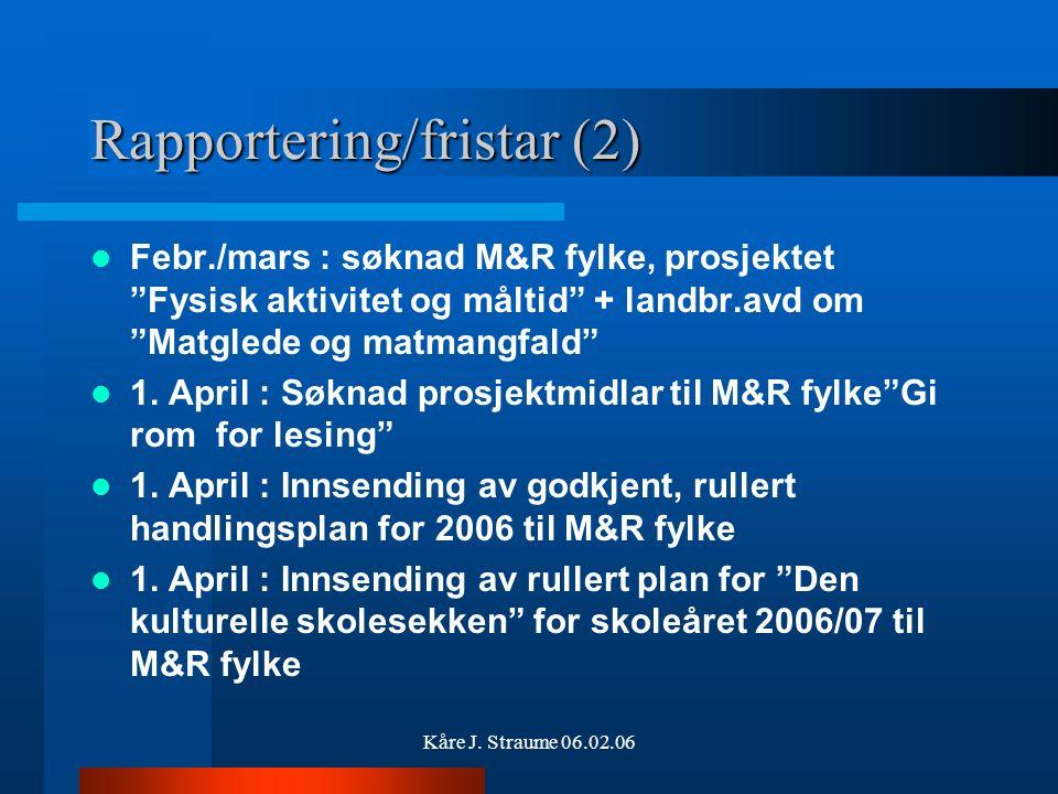 """Kåre J. Straume 06.02.06 Rapportering/fristar (1) 10.01.: Rapportering til udir om bruk av komp.midl. 2005 20.02. : Rapportering til udir om """"Gi rom f"""