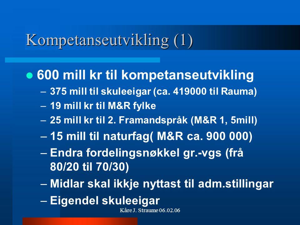 Kåre J. Straume 06.02.06 1,6 mrd kr til Kunnskapsløftet 965 mill kr til kvalitetsutvikling, m.a. –600 mill kr til kompetanseutvikling –80 mill kr til