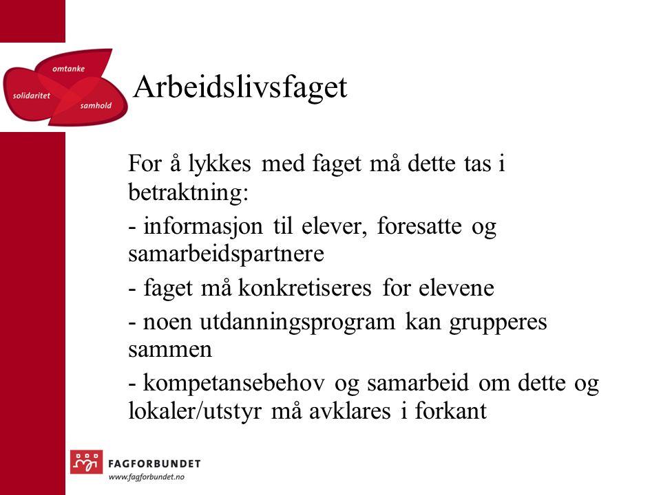 Arbeidslivsfaget For å lykkes med faget forts.: - fleksibilitet i forhold til organiseringen av faget.
