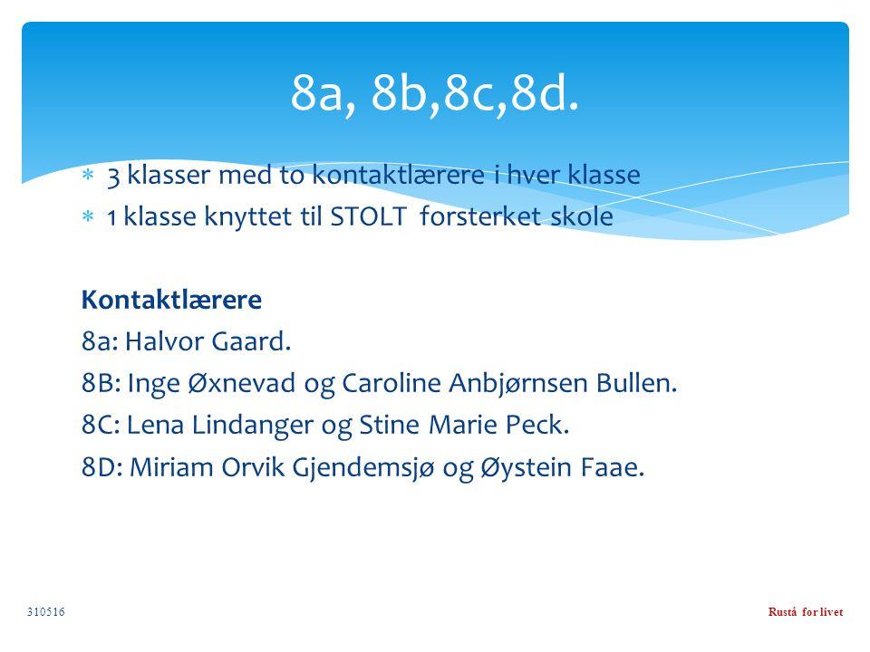  3 klasser med to kontaktlærere i hver klasse  1 klasse knyttet til STOLT forsterket skole Kontaktlærere 8a: Halvor Gaard.