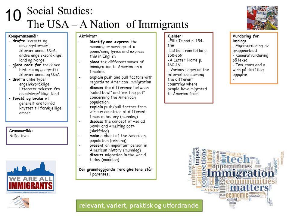 Social Studies: The USA – A Nation of Immigrants Kompetansemål: - drøfte levesett og omgangsformer i Storbritannia, USA, andre engelskspråklige land o