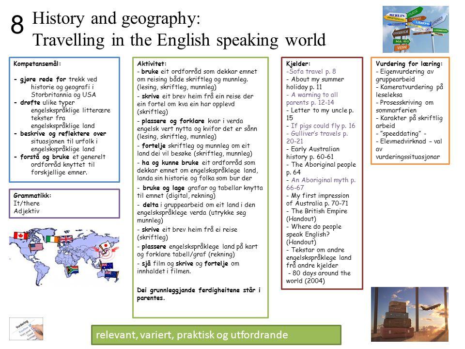 History and geography: Travelling in the English speaking world Aktivitet: - bruke eit ordforråd som dekkar emnet om reising både skriftleg og munnleg
