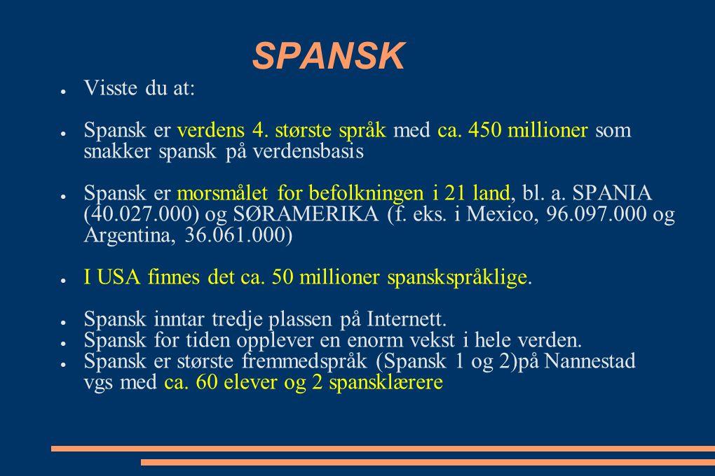 SPANSK ● Visste du at: ● Spansk er verdens 4. største språk med ca.