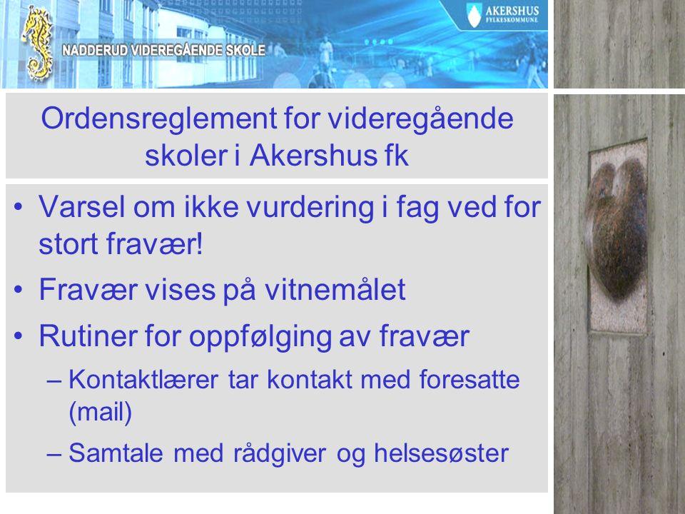 Ordensreglement for videregående skoler i Akershus fk Varsel om ikke vurdering i fag ved for stort fravær.