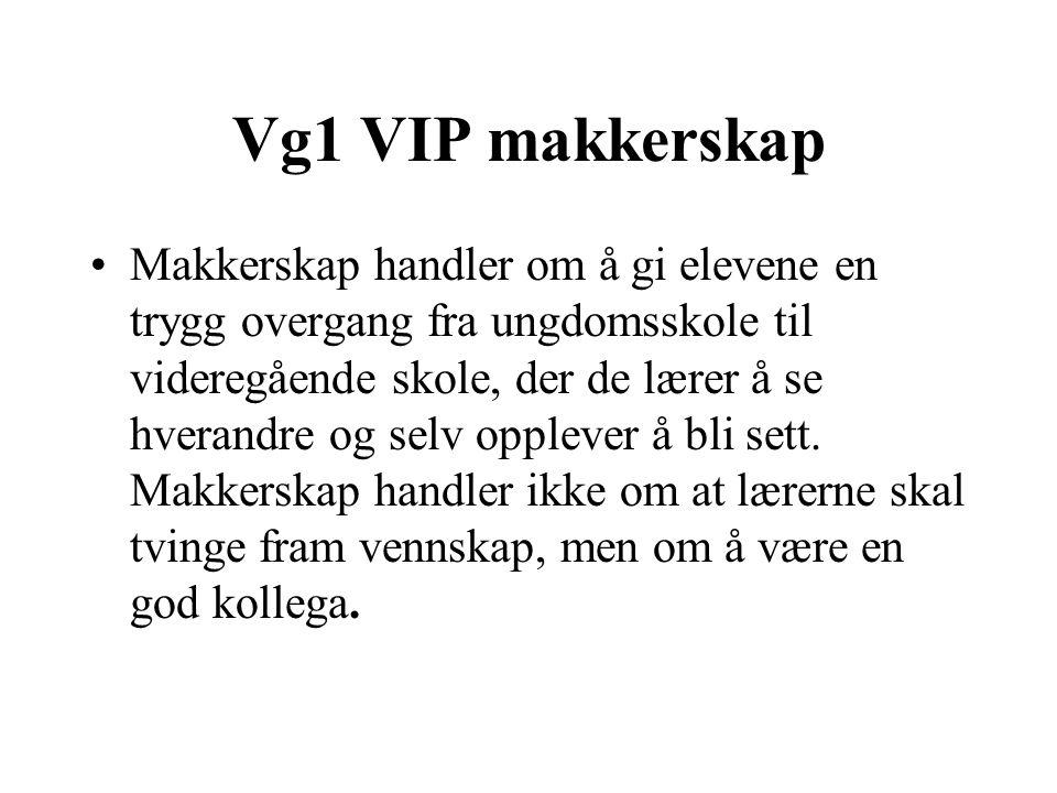 Vg1 VIP makkerskap Makkerskap handler om å gi elevene en trygg overgang fra ungdomsskole til videregående skole, der de lærer å se hverandre og selv o