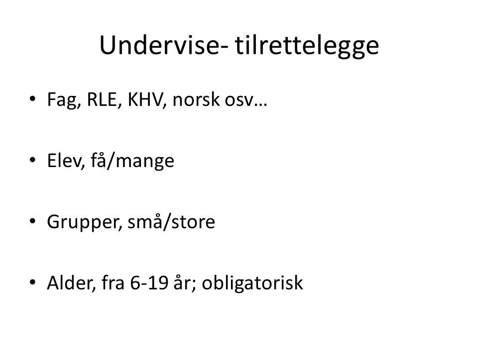 Undervise- tilrettelegge Fag, RLE, KHV, norsk osv… Elev, få/mange Grupper, små/store Alder, fra 6-19 år; obligatorisk
